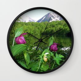 Wild Orchid Lady Slippers Snow-capped Mountain Landscape Wall Clock