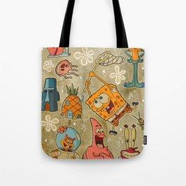 Sailor Jerry Spongebob Tattoo Sheet Tote Bag