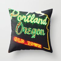 portland Throw Pillows featuring Portland! by Elle Hanley Photography