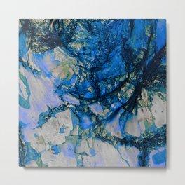 Blue Cracks Metal Print