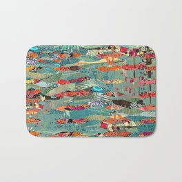 Goodbye Wave Abstract Art Collage Bath Mat