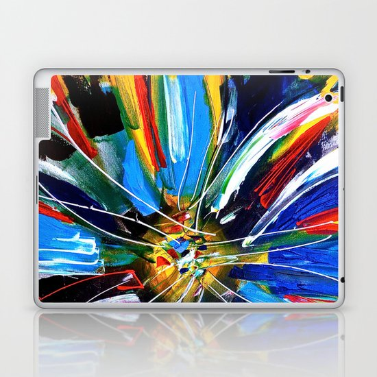 Dutch Spin - Colorful abstract painting flower Laptop & iPad Skin