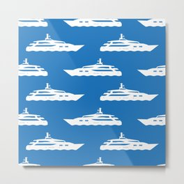 Nautical Blue Yacht Pattern Metal Print