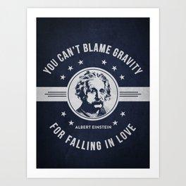 Albert Einstein - Navy Blue Art Print