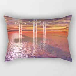 Christian crosses on red sea Rectangular Pillow