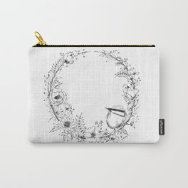 Chickadee a top Botanical Wreath Carry-All Pouch