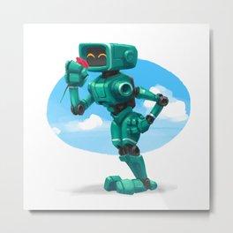 Aqua Bot Metal Print