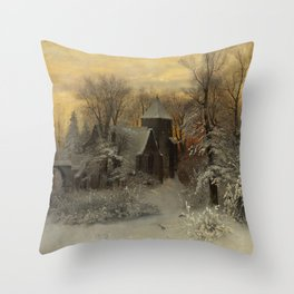 Church in Winter Scene Landscape by Sophis Jacobsen Throw Pillow