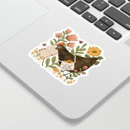Chicken Reading a Book Sticker