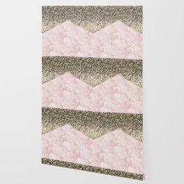 Shimmering golden chevron pink marble Wallpaper