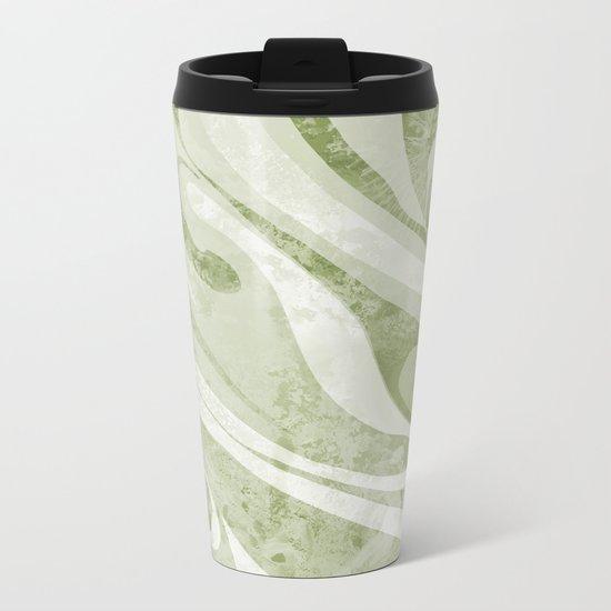 Abstract Green Waves Design Metal Travel Mug