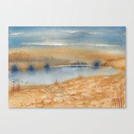 2 Colors - 3 Swans Canvas Print