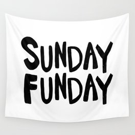 Sunday Funday - black hand lettering Wall Tapestry