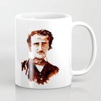 edgar allen poe Mugs featuring Poe by Doug Slack