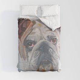 American Bulldog Portrait Vector With Decorative Border Comforters