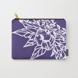 White Flowery Linocut Wreath On Checked UltraViolet Carry-All Pouch
