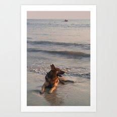 German Shepherd in the Surf Palolem Art Print