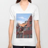 copenhagen V-neck T-shirts featuring Copenhagen Sun by Abby Hoffman