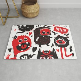 Funny Doodles with Monsters Set Rug