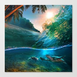 Palm Tree - Waves - Turtles - Beach - Ocean Canvas Print