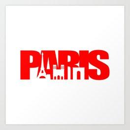 Paris Skyline Red Art Print