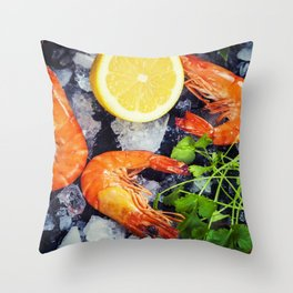 Tiger Shrimps on Ice with lemon and herbs Throw Pillow