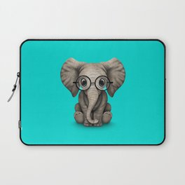 Cute Baby Elephant Calf with Reading Glasses on Blue Laptop Sleeve