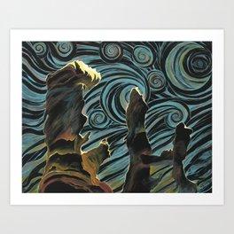 Pillars of Creation/Starry Night Art Print