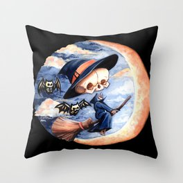 Halloween Witch Skellie Throw Pillow