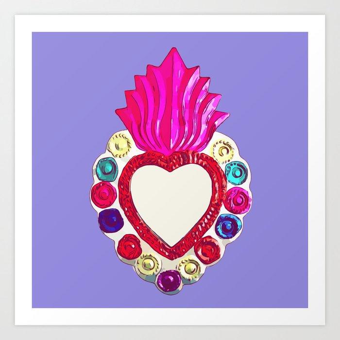 Tin Heart - Purple Art Print