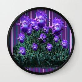 Purple Iris Garden Abstract Green Pattern Art Wall Clock