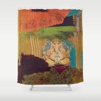 ganesha Shower Curtains featuring GANESHA by Prema Designs