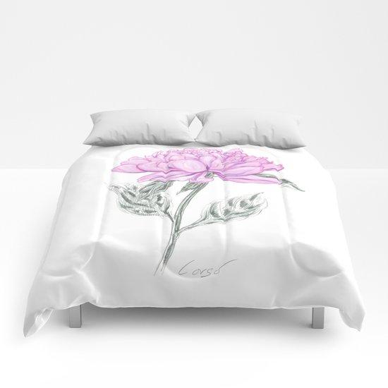 Peony 02 Botanical Flower * Symbolism: Love, Marriage, Partnership, Romance & Loyalty  Comforters