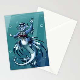 Blue Dragon Mermaid Stationery Cards