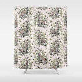 Brachio Ginkgo | Dinosaur Botanical Art Shower Curtain