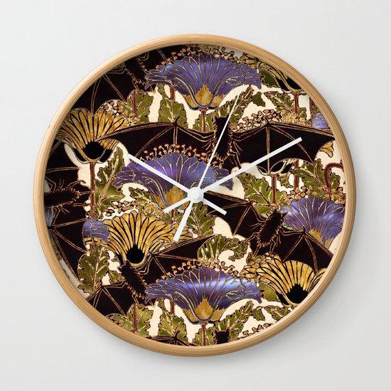 Wall Clock Art Nouveau : Art nouveau bats variation wall clock by chimaeradreams j