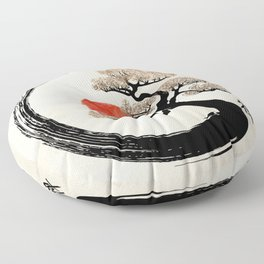 Enso Circle and Bonsai Tree on Canvas Floor Pillow