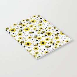 Honey Bumble Bee Yellow Floral Pattern Notebook