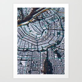 3D Amsterdam Map Art Print