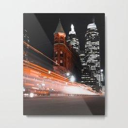 Gooderham Building Light Trail Metal Print
