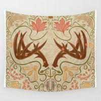 wisconsin Wall Tapestries featuring Wisconsin Pattern by Kayla Catherine Illustration