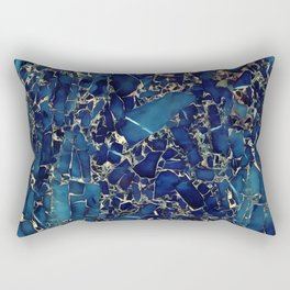 Dark blue stone marble abstract texture with gold streaks Rectangular Pillow