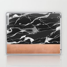 Black marble and pink copper Laptop & iPad Skin