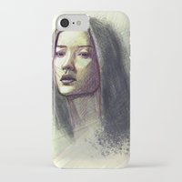 asian iPhone & iPod Cases featuring Asian girl by Ludovic Pinelli