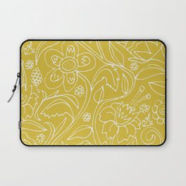 Garden Floral Drawing on Yellow Laptop Sleeve
