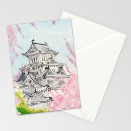 Himeji Castle , Art Watercolor Painting print by Suisai Genki , cherry blossom , Japanese Castle Stationery Cards