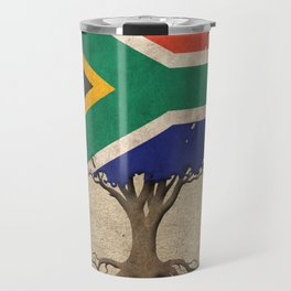 Vintage Tree of Life with Flag of South Africa Travel Mug