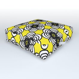 Yellow and Black Flowers Outdoor Floor Cushion