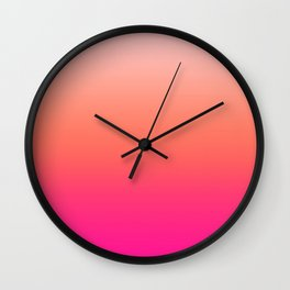 Gradient Ombre Living Coral Millennial Plastic Pink Pattern Peachy Orange Soft Trendy Cute Texture Wall Clock