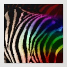 Black & White and Rainbow Zebra Print Canvas Print